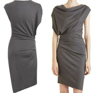 HELMUT LANG SONAR WOOL ASYMMETRICAL DRESS XS S